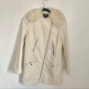 H&M cream white fur wool blend coat